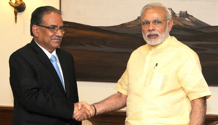 Photo dating July 2015, when Pushpa Kamal Dahal called on Indian Prime Minister Narendra Modi Pic: www.narendramodi.in