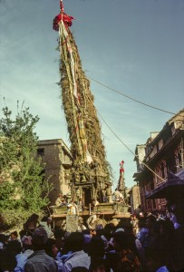 The chariots of Rāto Matysendranāth and Minnāth in Thaina, June 1977. The first picture of the chariot festival taken by the author.