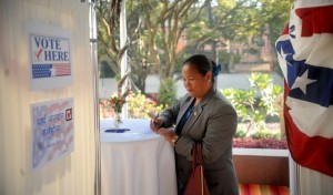 Speaker Onsari Gharti Magar casts her vote during a mock election held at the US Ambassador's residence in Kamalpokhari on Wednesday. Pic: Keshav Thoker