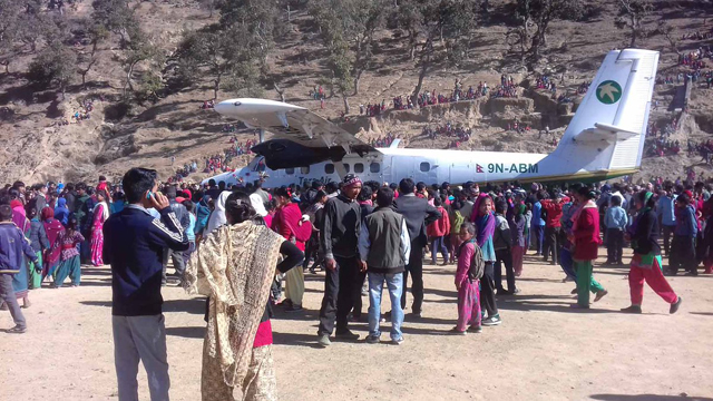 Tara Air flight carrying 14 passengers lands at Suntharali airfield on Sunday. The airfield which was under-construction from 1985 was a Maoist battlefield during the war. Photo: Yeti Airlines.