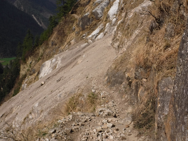 The most dangerous part of the Manaslu trail which was swept away in landslides after the earthquake two years ago