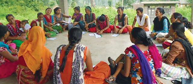 Women in Gurvakot village of Surkhet take part in a meeting to choose candidates for local elections last week. Photo: Laxmi Bhandari