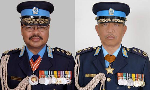 Ex-IGPs Om Bikram Rana (left) and Hem Bahadur Gurung