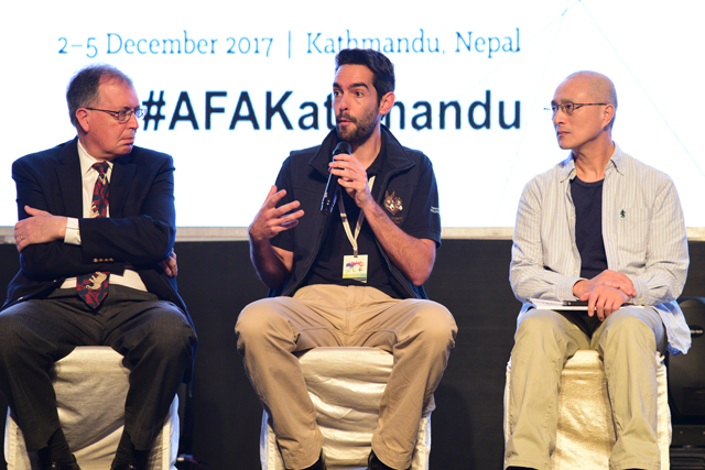 (Right to left) Andrew Rowan, executive director of the Humane Society; Alex Mayers, the Donkey Sanctuary; and Chu Tseng-Hung, Taiwanese activist during the conference on Tuesday.
