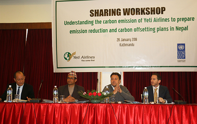 Umesh Chandra Rai, CEO of Yeti Airlines,Director General of Civial Aviation Authority of Nepal Sanjeev Gautam, UNDP Nepal Country Director Renaud Meyer and Mitch Hall (left to right) in an event to mark Carbon Neutrality Partnership between Yeti Airlines and UNDP on Friday in Kathmandu.  Pic: Yeti Airlines